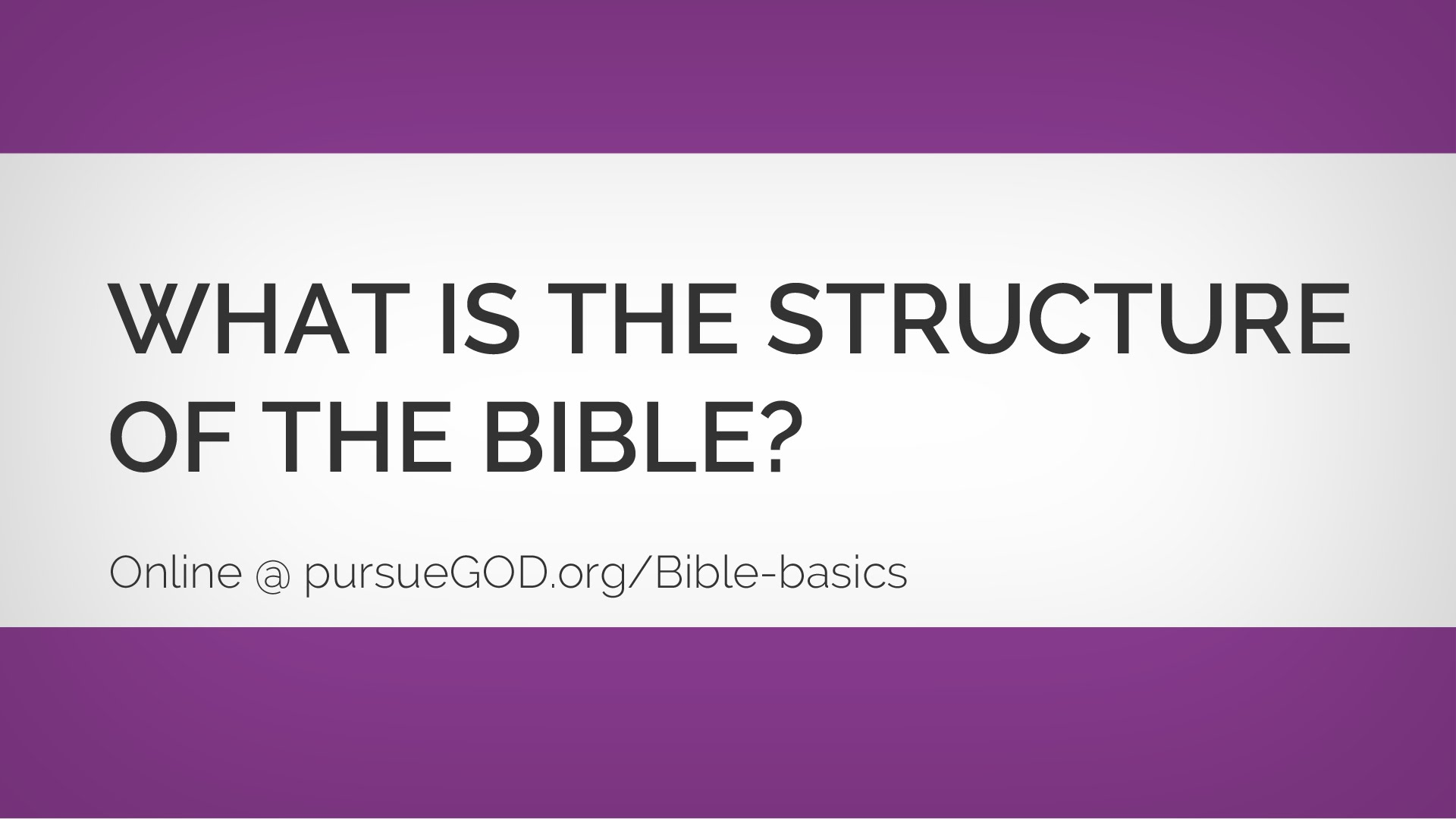 Bible Basics: What Is the Structure of the Bible?