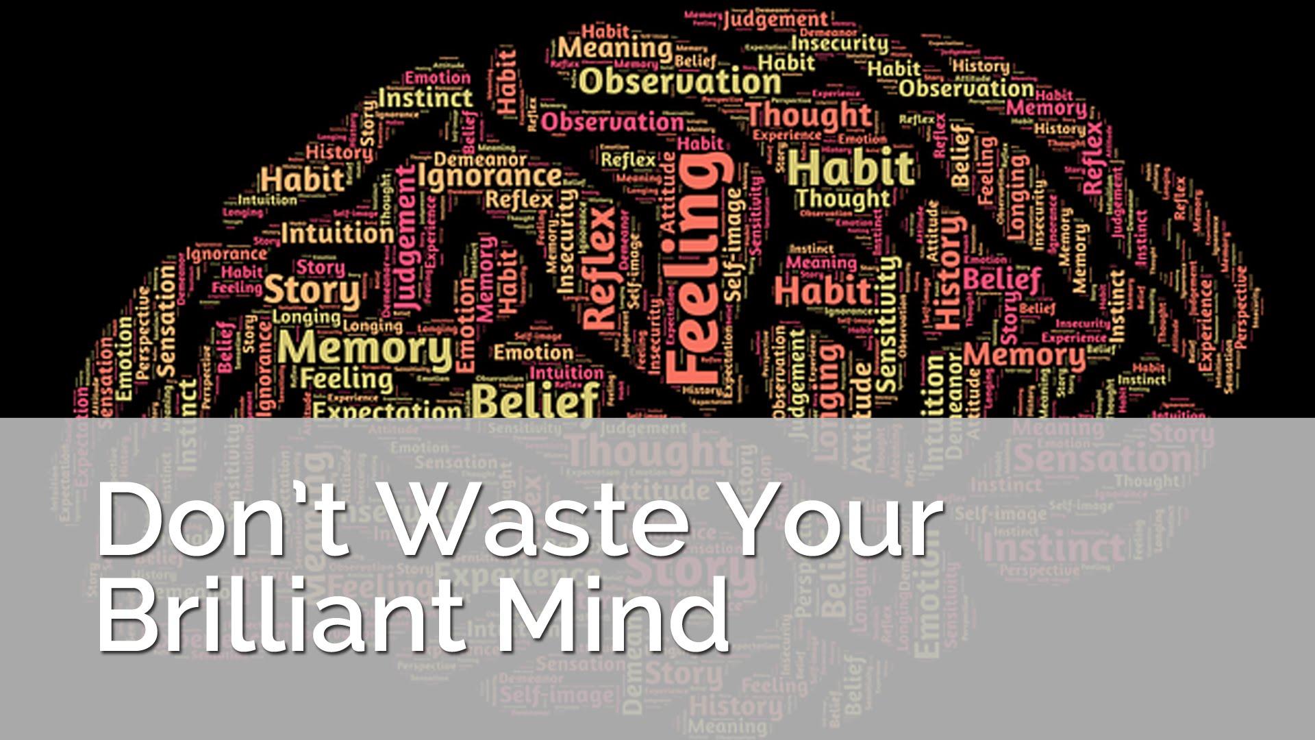 Ne gaspillez pas votre esprit brillant