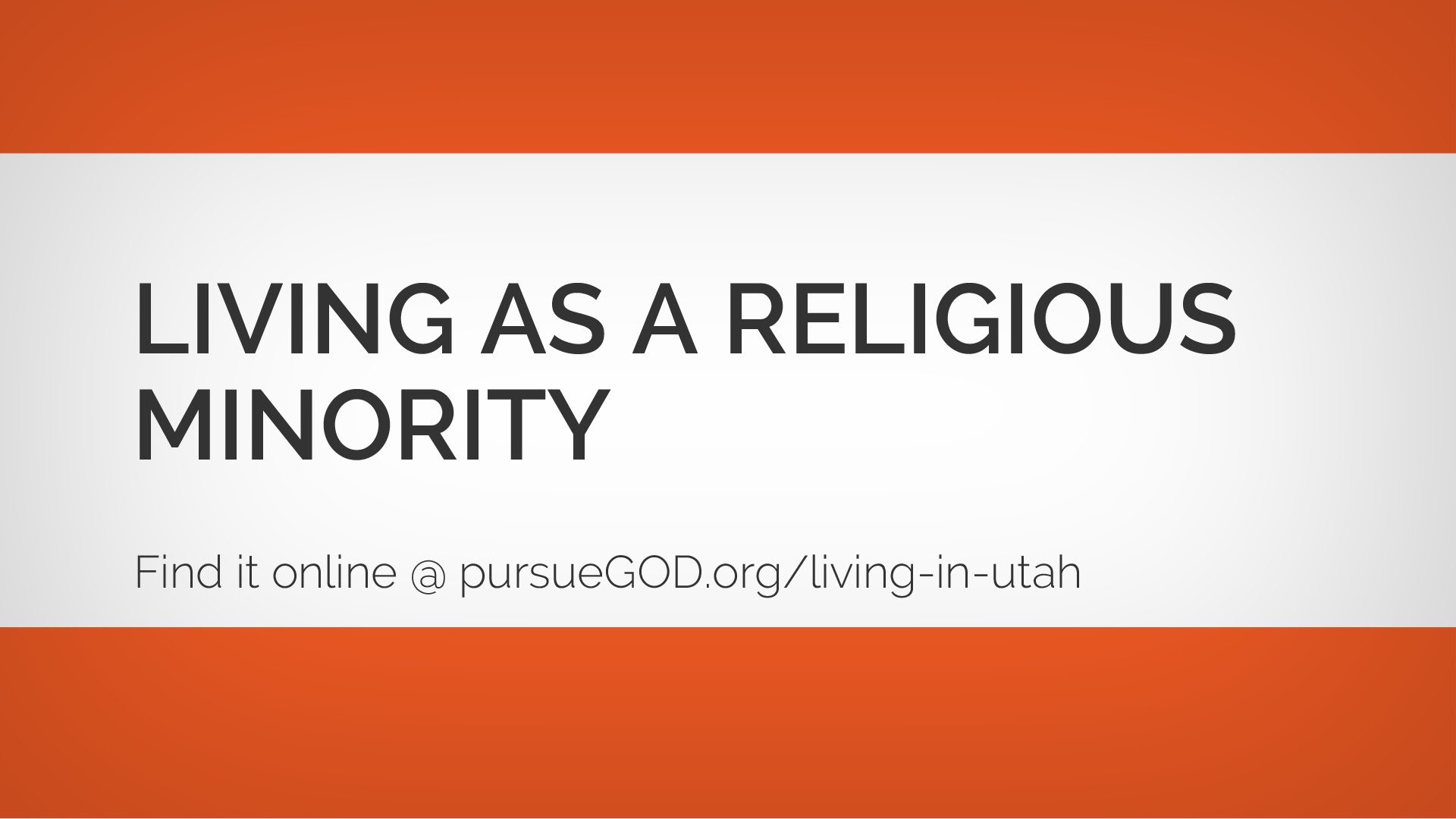Living as a Religious Minority