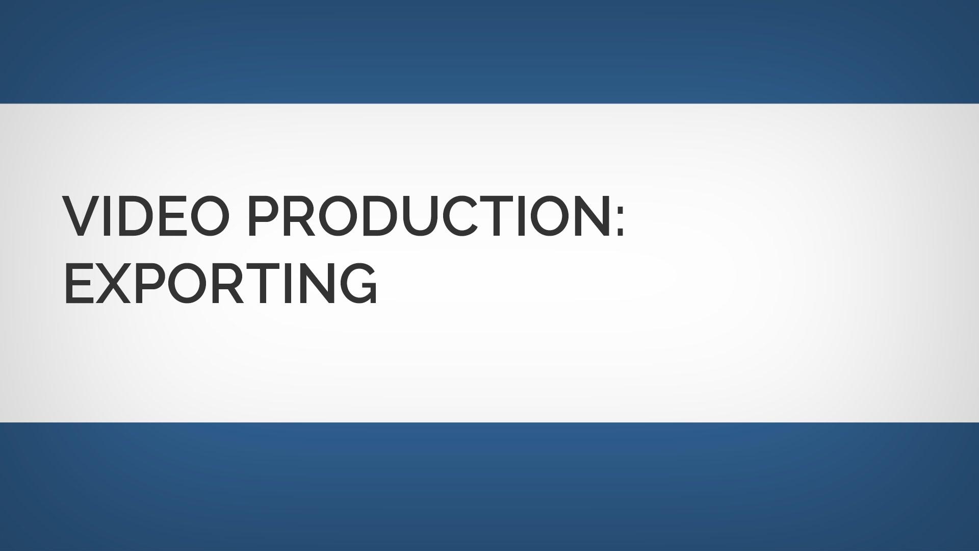 ビデオ制作:ビデオの書き出し