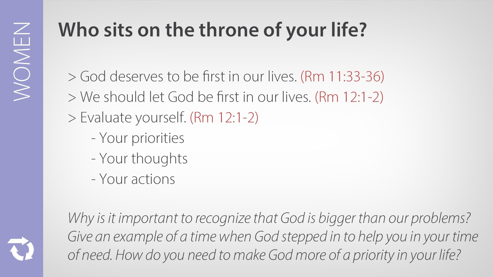 Women – Who Sits on the Throne of Your Life?